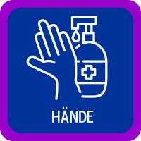 Hände desinfizieren am Eingang